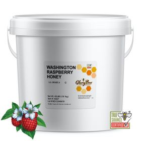 Raspberry Honey - produced in may and strongly resembles blackberry honey, but has a sharper and spicier flavor. All natural honey in 3.5 gallon bucket.