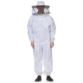 Round veil attached to a heavy-duty cotton polyester blend suit. Sized in standard men's sizes. All heavy duty bee suits come with elastic thumb straps, double Velcro closures, and zippers on the ankle cuffs for ease of putting on and taking off.