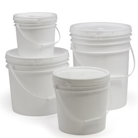 White plastic pail with handle. Discounts on 50 or more - call for details.