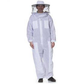 Round veil attached to a heavy-duty cotton polyester blend suit. Mesh material on sleeves & body allow air to flow through. Sized in standard men's sizes. All heavy duty bee suits come with elastic thumb straps, double Velcro closures, and zippers on the
