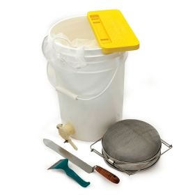 All the tools needed for a hobby beekeeper to harvest their honey (except the extractor)! Kit includes a 6 gallon pail with gate, metal double honey sieve, stainless steel capping scratcher, cold uncapping knife, 5 gallon mesh filter bag and a comb capper