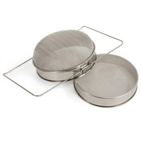 Metal Double Honey Sieve, For Straining Honey from Comb, Sits on Top of 5 Gallon Pail.