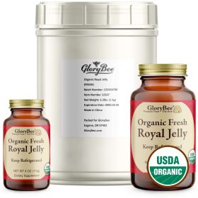 Royal jelly is a potent, milky, pale yellow, creamy liquid with a strong taste. At room temperatures it has the consistency of pudding. It is produced by nurse honeybees. Queen bees live exclusively on royal jelly, which is thought to account for their in
