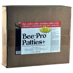 Bee Pro Patties are a high protein pollen substitute. They supply the proteins, lipids, minerals, carbohydrates, and B complex vitamins honeybees need to produce larval food. Bee Pro Patties are specially formulated to be a complete bee diet for producing