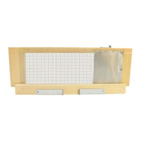 The screen can be left on while the adjustable doors allow the bees to exit the hive when ready. At the end of the season when robbing is prevalent you can eliminate robbing by putting the screen on your hives and opening the top exit above the aluminum c