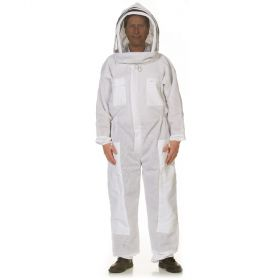 Fencing veil attached to a heavy-duty cotton polyester blend suit. Mesh material on sleeves & body allow air to flow through. Sized in standard men's sizes. All heavy duty bee suits come with elastic thumb straps, double Velcro closures, and zippers on th