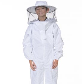Round veil attached to a heavy-duty cotton polyester blend suit. All heavy duty bee suits come with elastic thumb straps, double Velcro closures, and zippers on the ankle cuffs for ease of putting on and taking off.