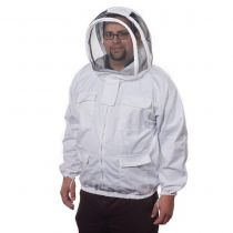 Veil and hat attached to poly-cotton zip-up jacket. Heavy duty and easy to wear. Sized in standard men's sizes. A good alternative to a full suit. It has lots of pockets and it seals well.