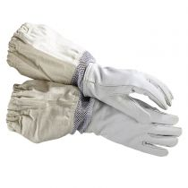 Durable leather gloves for working with hives. Ventilation helps keep hands cooler in warm weather. Available in size small to extra large.