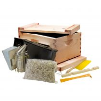 This basic kit includes the materials and tools you'll need to start a keeping bees. It is important to start with a single-story hive. Adding new supers as the colony grows makes it easier for the bees to keep the space warm, and ensures that they build