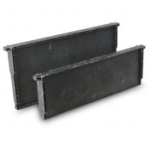 The ultimate convenience - plastic frame and foundation in one unit. Durable and coated in beeswax. Ready to be put in the super after a gentle sugar water misting. Use Black Foundation in Brood chambers to help you spot eggs.