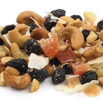 Contains roasted & salted cashews (cashews, canola oil, salt), whole orange cranberries (cranberries, sugar, apple juice, natural flavor, expeller pressed canola oil), dehydrated papaya (papaya, sugar), coconut chips, dry roasted macadamia nuts.