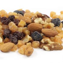 Aunt Patty's Mt. St Helens Trail Mix is made with raw, local ingredients - Pacific Northwest cinnamon-infused apples, Pacific Northwest cranberries, raw walnuts, raw almonds, and raisins.