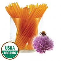 Certified organic clover honey in a HoneyStix! Produced from organically farmed clover fields and made in hives kept without the use of antibiotics, pesticides, fungicides, and other non-organic treatments. 100 Stix Per Bag. Kosher certified by Orthodox U
