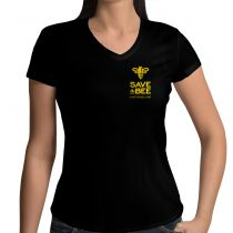 Do you love bees? Show your support for our favorite pollinators with this stylish black v-neck shirt.