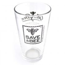 This pint glass holds a American pint (16oz) of your favorite beverage. Sporting the Save The Bee logo on one side, and the GloryBee logo on the reverse, this glass is the perfect way to show your support for Save The Bee while enjoying drinks of any kind