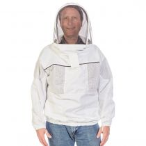Do you find it too time consuming to get in and out a full beekeeping suit? GloryBee's ventilated pull-over beekeeping jacket offers a perfect balance of coolness, affordability, and protection from stings.